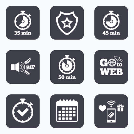 35: Mobile payments, wifi and calendar icons. Timer icons. 35, 45 and 50 minutes stopwatch symbols. Check or Tick mark. Go to web symbol.