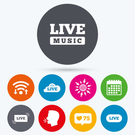 live on air: Wifi, like counter and calendar icons. Live music icons. Karaoke or On air stream symbols. Cloud sign. Human talk, go to web.