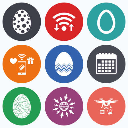 pasch: Wifi, mobile payments and drones icons. Easter eggs icons. Circles and floral patterns symbols. Tradition Pasch signs. Calendar symbol. Illustration