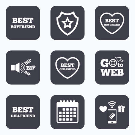 boyfriend: Mobile payments, wifi and calendar icons. Best boyfriend and girlfriend icons. Heart love signs. Award symbol. Go to web symbol. Illustration