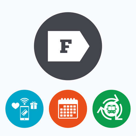 economy class: Energy efficiency class F sign icon. Energy consumption symbol. Mobile payments, calendar and wifi icons. Bus shuttle. Illustration