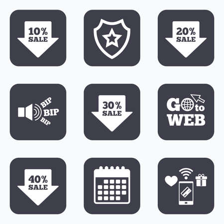 20 30: Mobile payments, wifi and calendar icons. Sale arrow tag icons. Discount special offer symbols. 10%, 20%, 30% and 40% percent sale signs. Go to web symbol. Illustration