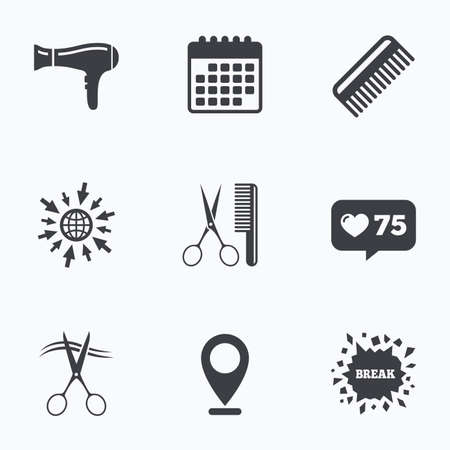 comb hair: Calendar, like counter and go to web icons. Hairdresser icons. Scissors cut hair symbol. Comb hair with hairdryer sign. Location pointer.