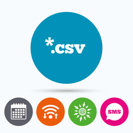 csv: Wifi, Sms and calendar icons. File document icon. Download tabular data file button. CSV file extension symbol. Go to web globe. Illustration