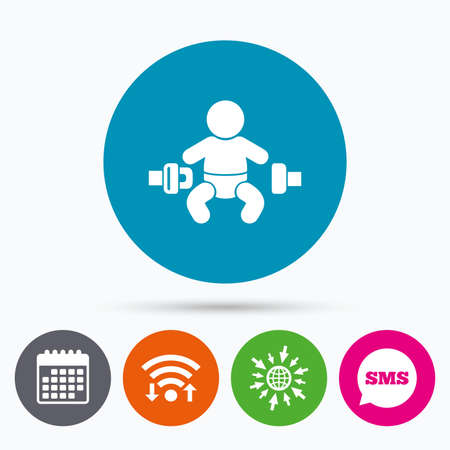 child safety: Wifi, Sms and calendar icons. Fasten seat belt sign icon. Child safety in accident. Go to web globe.
