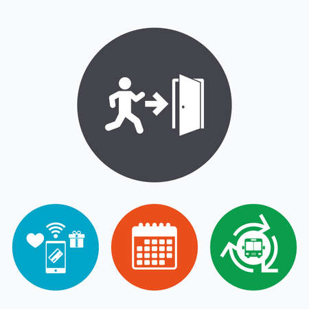 arrow emergency exit: Emergency exit with human figure sign icon. Door with right arrow symbol. Fire exit. Mobile payments, calendar and wifi icons. Bus shuttle.