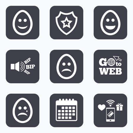 pasch: Mobile payments, wifi and calendar icons. Eggs happy and sad faces icons. Crying smiley with tear symbols. Tradition Easter Pasch signs. Go to web symbol.