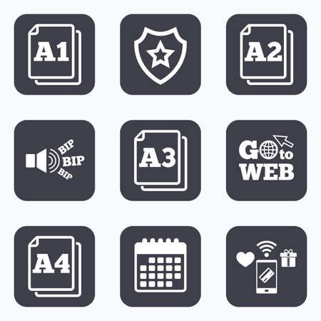 a1: Mobile payments, wifi and calendar icons. Paper size standard icons. Document symbols. A1, A2, A3 and A4 page signs. Go to web symbol.