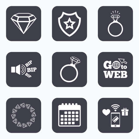 web engagement: Mobile payments, wifi and calendar icons. Rings icons. Jewelry with shine diamond signs. Wedding or engagement symbols. Go to web symbol.