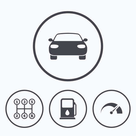 tachometer: Transport icons. Car tachometer and manual transmission symbols. Petrol or Gas station sign. Icons in circles. Illustration