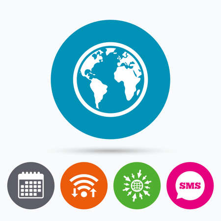 geography: Wifi, Sms and calendar icons. Globe sign icon. World map geography symbol. Go to web globe.