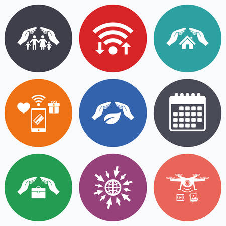 drones: Wifi, mobile payments and drones icons. Hands insurance icons. Human life insurance symbols. Nature leaf protection symbol. House property insurance sign. Calendar symbol.