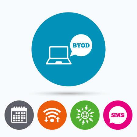 Wifi、Sms、カレンダー アイコン。BYOD 記号アイコン。独自のデバイスのシンボルをもたらします。音声バブル記号ノート。Web の世界に移動します。