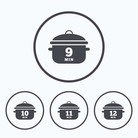 boil: Cooking pan icons. Boil 9, 10, 11 and 12 minutes signs. Stew food symbol. Icons in circles. Illustration
