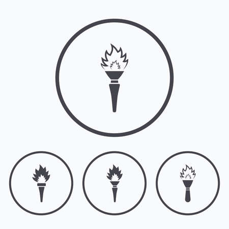 hand tool: Torch flame icons. Fire flaming symbols. Hand tool which provides light or heat. Icons in circles. Illustration