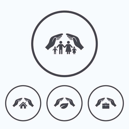 Handen verzekering pictogrammen. Human levensverzekeringen symbolen. Natuur blad bescherming symbool. House schadeverzekeringen teken. Pictogrammen in cirkels.