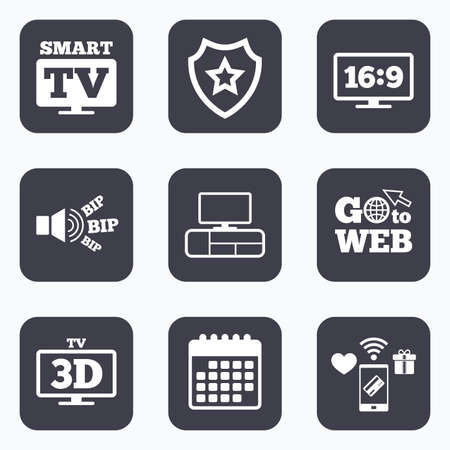 the ratio: Mobile payments, wifi and calendar icons. Smart TV mode icon. Aspect ratio 16:9 widescreen symbol. 3D Television and TV table signs. Go to web symbol.
