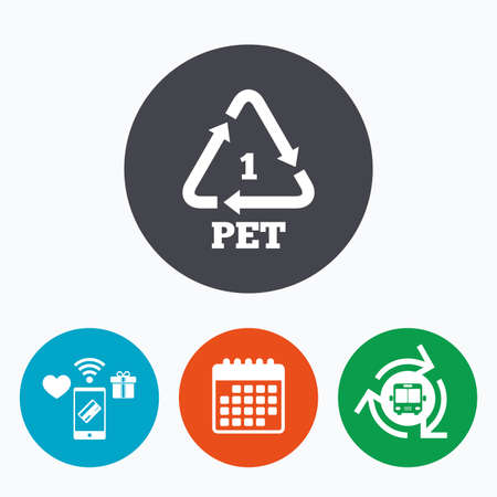 polyethylene: PET 1 icon. Polyethylene terephthalate sign. Recycling symbol. Bottles packaging. Mobile payments, calendar and wifi icons. Bus shuttle. Illustration