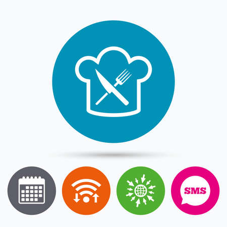 Wifi, Sms and calendar icons. Chef hat sign icon. Cooking symbol. Cooks hat with fork and knife. Go to web globe. Ilustração