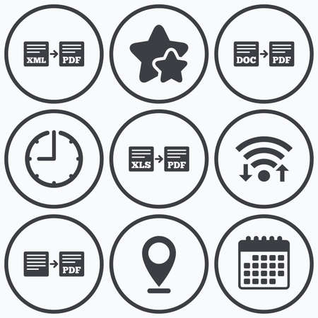 convert: Clock, wifi and stars icons. Export file icons. Convert DOC to PDF, XML to PDF symbols. XLS to PDF with arrow sign. Calendar symbol. Illustration