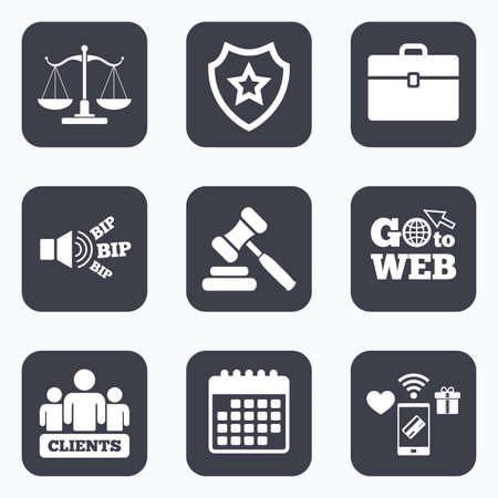 court symbol: Mobile payments, wifi and calendar icons. Scales of Justice icon. Group of clients symbol. Auction hammer sign. Law judge gavel. Court of law. Go to web symbol. Illustration