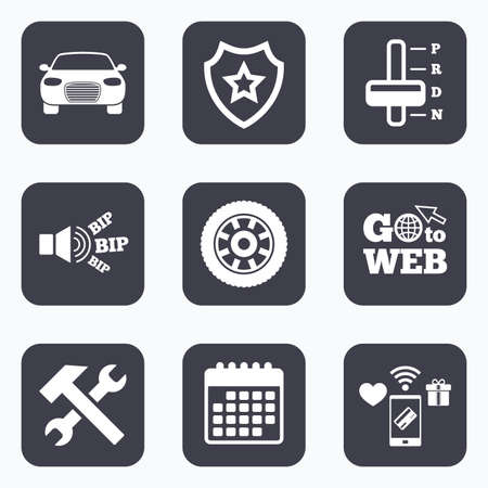 automatic transmission: Mobile payments, wifi and calendar icons. Transport icons. Car tachometer and automatic transmission symbols. Repair service tool with wheel sign. Go to web symbol. Illustration