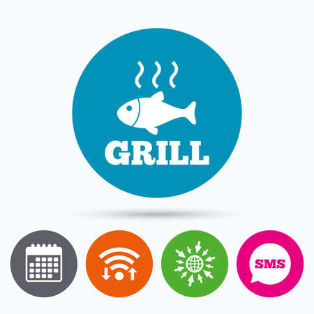 fry: Wifi, Sms and calendar icons. Fish grill hot sign icon. Cook or fry fish symbol. Go to web globe. Illustration