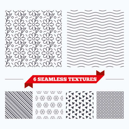 texturing: Diagonal lines, waves and geometry design. Flower floral texture. Stripped geometric seamless pattern. Modern repeating stylish texture. Material patterns. Illustration