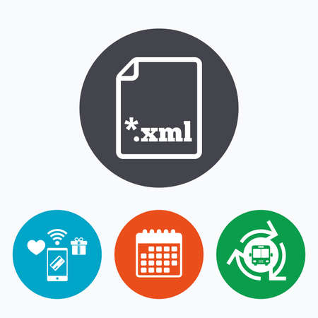 xml: File document icon. Download XML button. XML file extension symbol. Mobile payments, calendar and wifi icons. Bus shuttle.