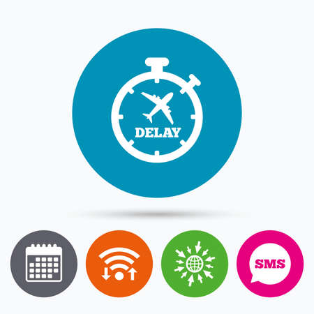 delayed: Wifi, Sms and calendar icons. Delayed flight sign icon. Airport delay timer symbol. Airplane icon. Go to web globe.