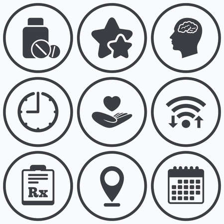 rx: Clock, wifi and stars icons. Medicine icons. Medical tablets bottle, head with brain, prescription Rx signs. Pharmacy or medicine symbol. Hand holds heart. Calendar symbol.