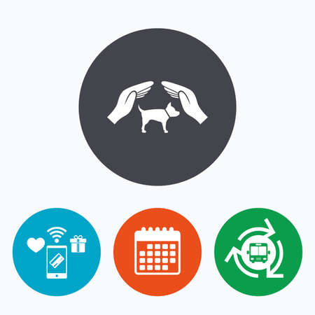 shelter: Protection of animals pets sign icon. Hands protect dog symbol. Shelter for dogs. Animals insurance. Mobile payments, calendar and wifi icons. Bus shuttle. Illustration