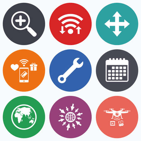 drones: Wifi, mobile payments and drones icons. Magnifier glass and globe search icons. Fullscreen arrows and wrench key repair sign symbols. Calendar symbol. Illustration