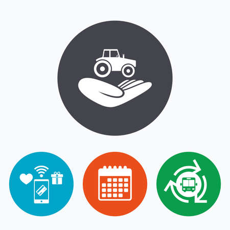 gift accident: Agricultural transport insurance sign icon. Hand holds tractor. Protection vehicle from damage and accidents. Mobile payments, calendar and wifi icons. Bus shuttle.