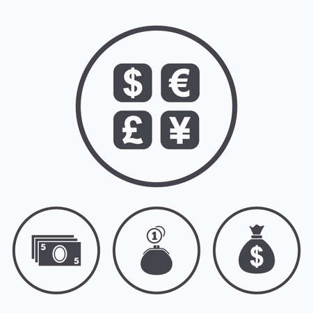 withdrawals: Currency exchange icon. Cash money bag and wallet with coins signs. Dollar, euro, pound, yen symbols. Icons in circles.
