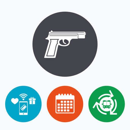 firearms: Gun sign icon. Firearms weapon symbol. Mobile payments, calendar and wifi icons. Bus shuttle.