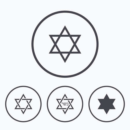 magen: Star of David sign icons. Symbol of Israel. Icons in circles.