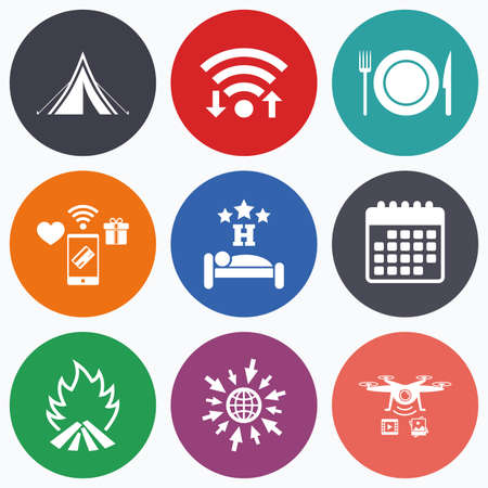 drones: Wifi, mobile payments and drones icons. Food, sleep, camping tent and fire icons. Knife, fork and dish. Hotel or bed and breakfast. Road signs. Calendar symbol.