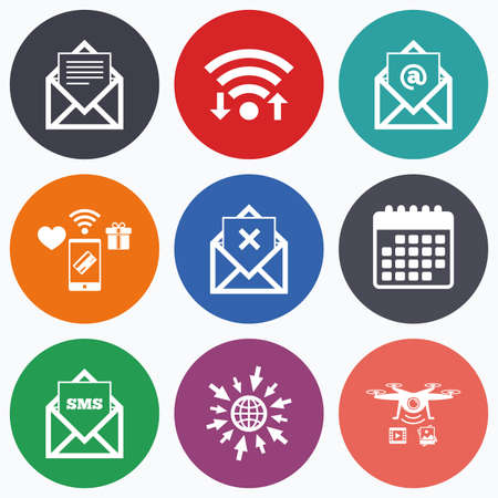 webmail: Wifi, mobile payments and drones icons. Mail envelope icons. Message document symbols. Post office letter signs. Delete mail and SMS message. Calendar symbol.
