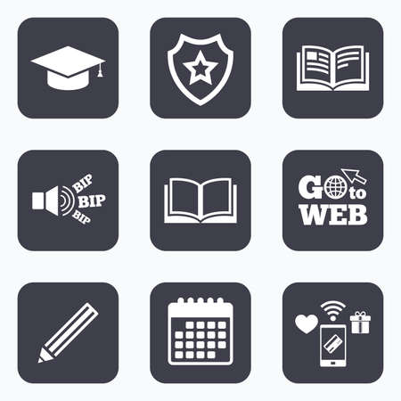 higher: Mobile payments, wifi and calendar icons. Pencil and open book icons. Graduation cap symbol. Higher education learn signs. Go to web symbol.