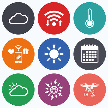 hotness: Wifi, mobile payments and drones icons. Weather icons. Cloud and sun signs. Thermometer temperature symbol. Calendar symbol.