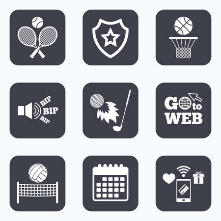 volleyball net: Mobile payments, wifi and calendar icons. Tennis rackets with ball. Basketball basket. Volleyball net with ball. Golf fireball sign. Sport icons. Go to web symbol.