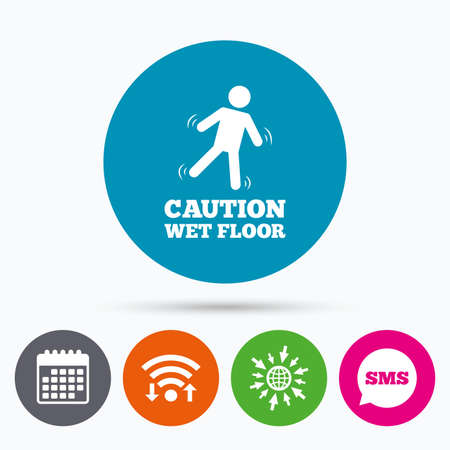 wet floor sign: Wifi, Sms and calendar icons. Caution wet floor sign icon. Human falling symbol. Go to web globe.