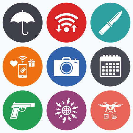 edged: Wifi, mobile payments and drones icons. Gun weapon icon.Knife, umbrella and photo camera signs. Edged hunting equipment. Prohibition objects. Calendar symbol. Illustration