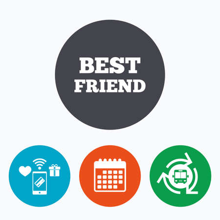 relatives: Best friend sign icon. Award symbol. Mobile payments, calendar and wifi icons. Bus shuttle.