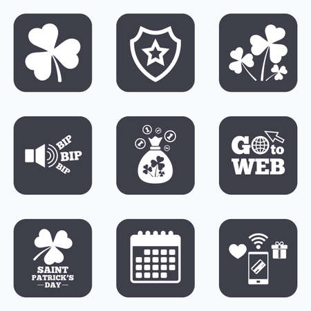 clover buttons: Mobile payments, wifi and calendar icons. Saint Patrick day icons. Money bag with clover and coins sign. Trefoil shamrock clover. Symbol of good luck. Go to web symbol.