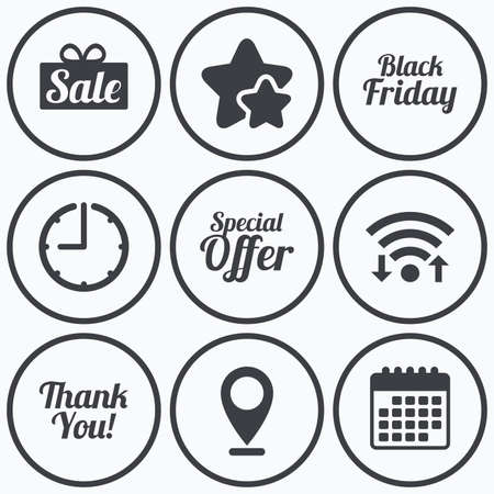 you are special: Clock, wifi and stars icons. Sale icons. Special offer and thank you symbols. Gift box sign. Calendar symbol.