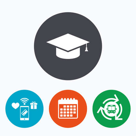 higher quality: Graduation cap sign icon. Higher education symbol. Mobile payments, calendar and wifi icons. Bus shuttle.