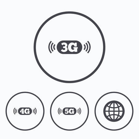 3g: Mobile telecommunications icons. 3G, 4G and 5G technology symbols. World globe sign. Icons in circles.