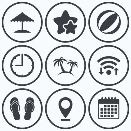 flipflops: Clock, wifi and stars icons. Beach holidays icons. Ball, umbrella and flip-flops sandals signs. Palm trees symbol. Calendar symbol. Illustration